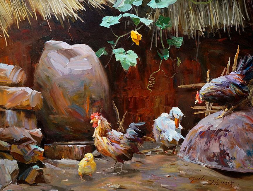 金正男 (一级画家)《小院一角》2016