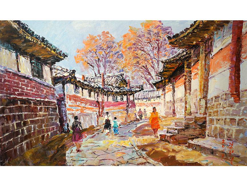 郑贤日(人民艺术家)《老街》2014