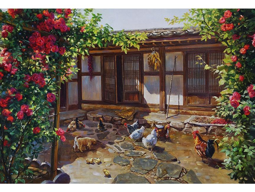 姜恩京(一级画家)《鸡犬闲闲》2017