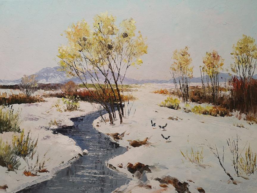 崔日(一级画家)《水软山温》2018年
