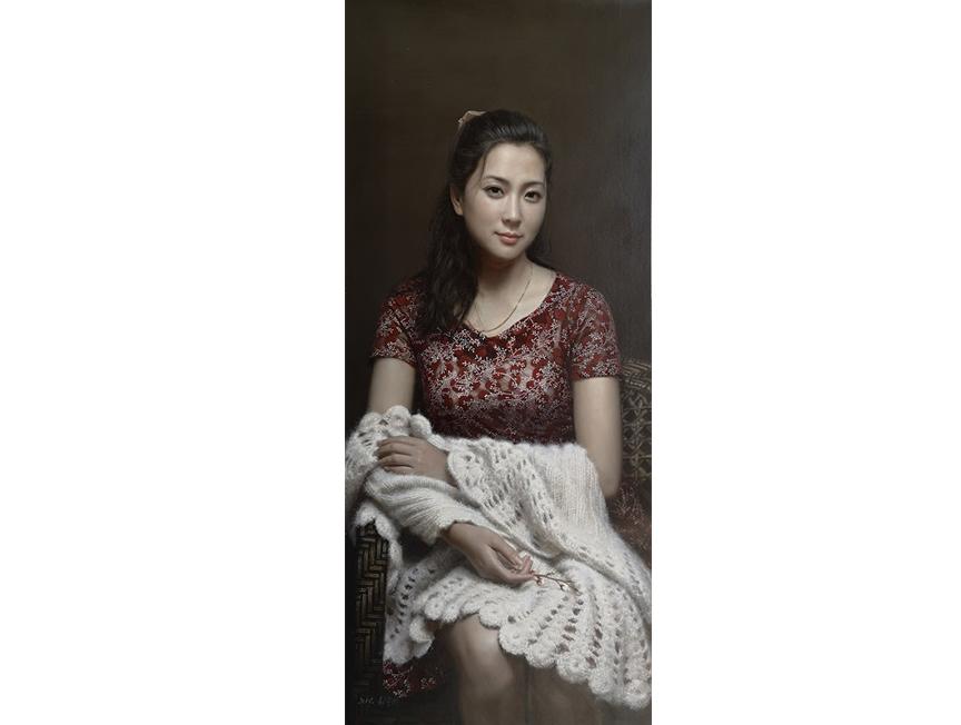 崔龙学(一级画家)《佳人》 115X50  2019年