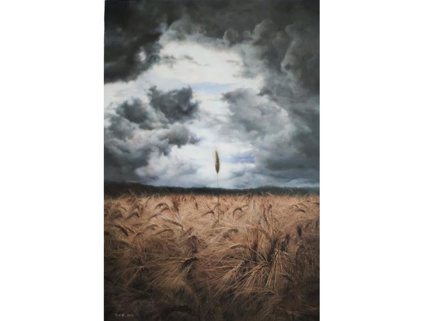 柳尚赫(一级画家)《守得云开见日出》  118x78 2019年