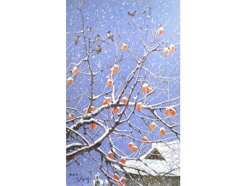 金成哲(一级画家)《柿柿顺意》 58x36 2019年