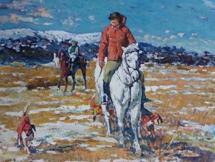洪天星(功勋艺术家)《牧马场》