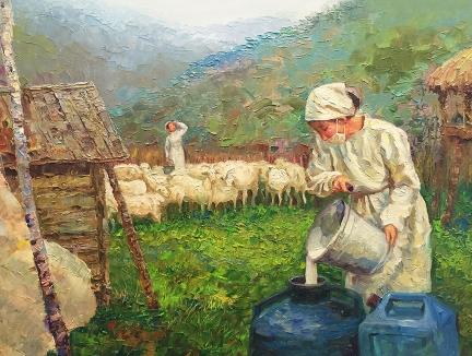 银成(一级画家)《牧场》2016