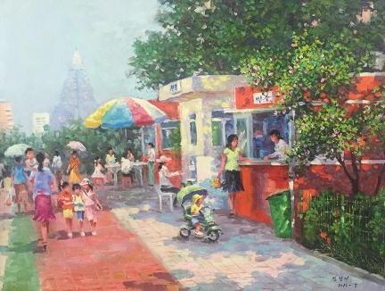 金京美(一级画家)《游乐场》2015