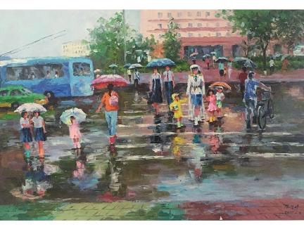 金京美(一级画家)《雨中行人》2015