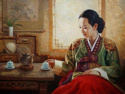 李元哲(功勋艺术家)《品茶》2016
