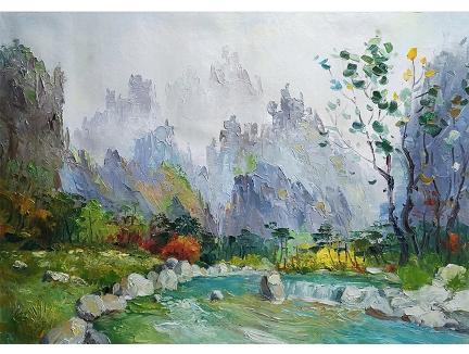 重庆李元哲(功勋艺术家)《山间林下》2018
