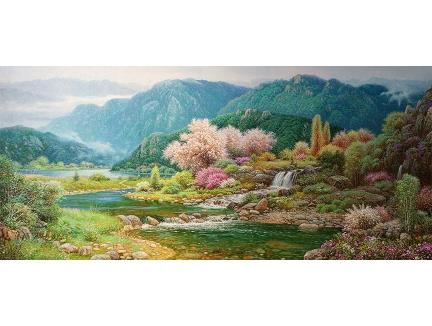 福建池元赫(一级画家)《青山碧水》 178X80  2015年