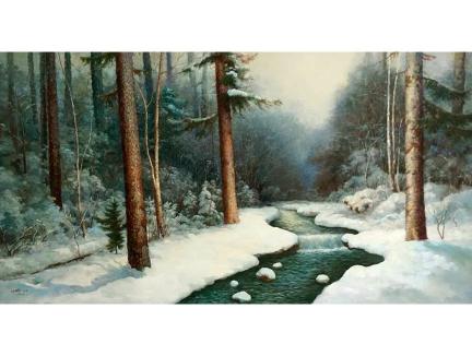 李元哲(功勋艺术家)《青松白雪》150x80