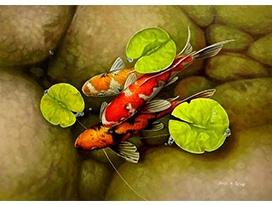 福建李贤明(一级画家)《年年有余》90x65