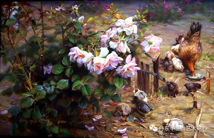 朝鲜动物油画